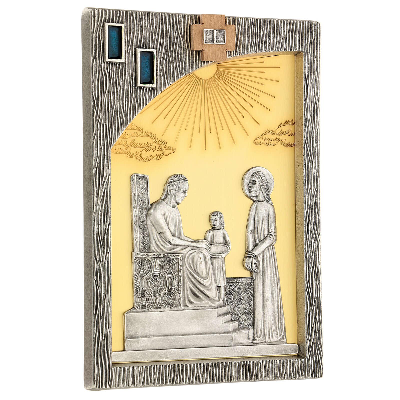Vía crucis 14 estaciones bicolores latón fundido 30x20 cm 4