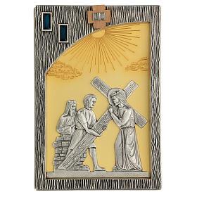 Vía crucis 14 estaciones bicolores latón fundido 30x20 cm s4