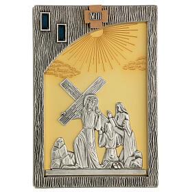 Vía crucis 14 estaciones bicolores latón fundido 30x20 cm s10