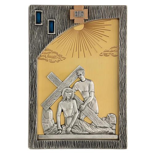 Vía crucis 14 estaciones bicolores latón fundido 30x20 cm 5