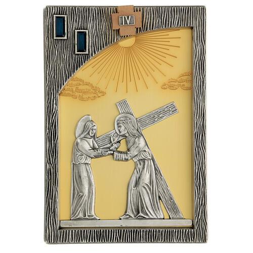 Vía crucis 14 estaciones bicolores latón fundido 30x20 cm 6
