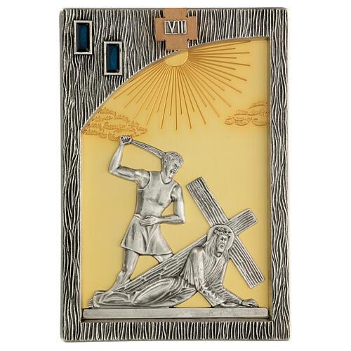 Vía crucis 14 estaciones bicolores latón fundido 30x20 cm 9
