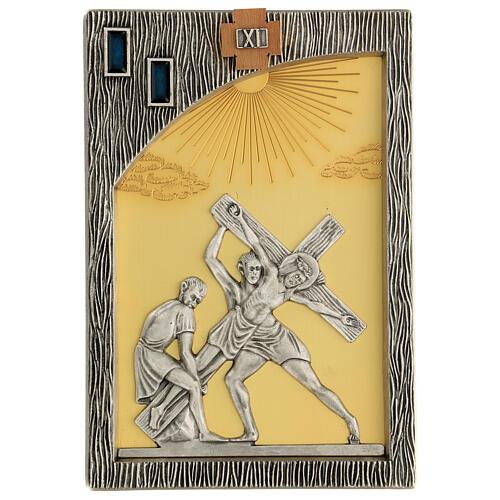 Vía crucis 14 estaciones bicolores latón fundido 30x20 cm 13