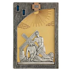 Via crucis 14 stazioni bicolori ottone fuso 30x20 cm s5