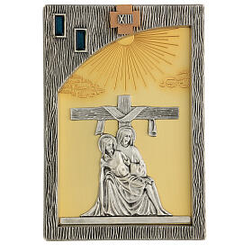 Via crucis 14 stazioni bicolori ottone fuso 30x20 cm s15