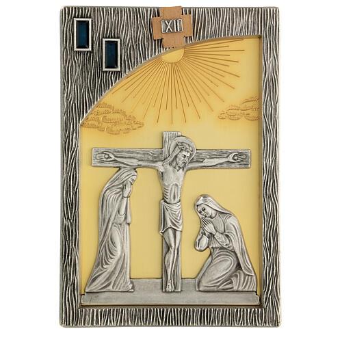 Via crucis 14 stazioni bicolori ottone fuso 30x20 cm 14