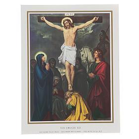 Via Crucis 14 estaciones impreso sobre madera 30x20 cm s12