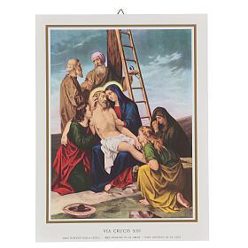 Via Crucis 14 estaciones impreso sobre madera 30x20 cm s13