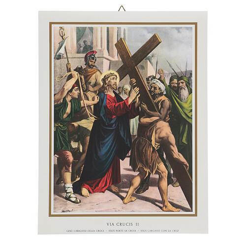 Via Crucis 14 estaciones impreso sobre madera 30x20 cm 2