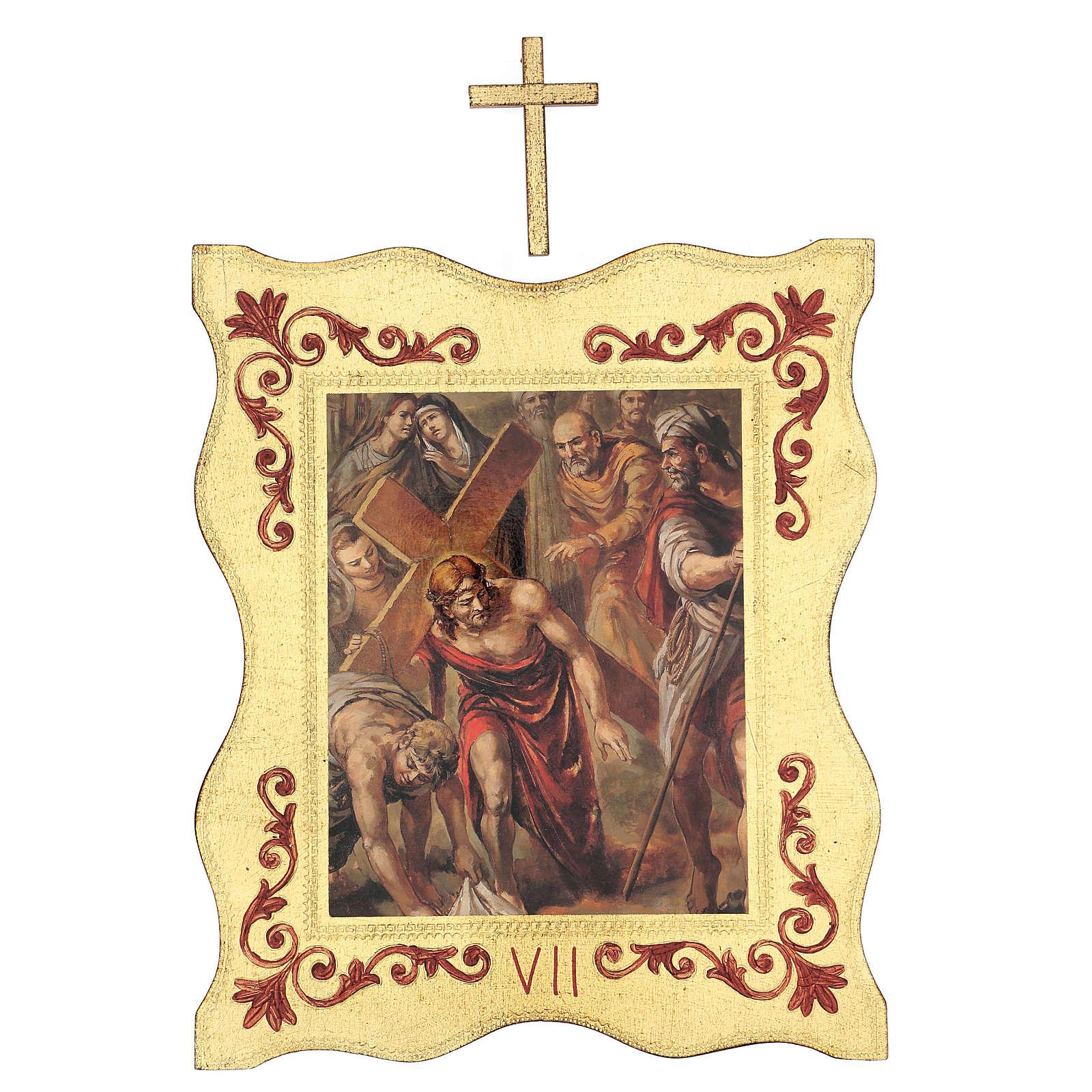 Via crucis 15 stazioni bordo corniciato stampa legno 40x30 cm 4