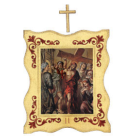Via crucis 15 stazioni bordo corniciato stampa legno 40x30 cm s2