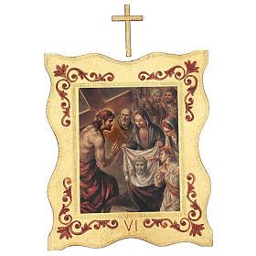 Via crucis 15 stazioni bordo corniciato stampa legno 40x30 cm s6