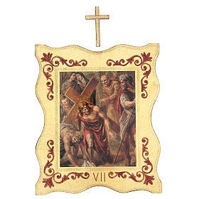Via crucis 15 stazioni bordo corniciato stampa legno 40x30 cm s7
