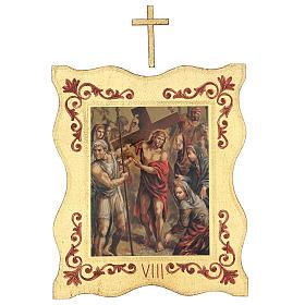 Via crucis 15 stazioni bordo corniciato stampa legno 40x30 cm s8