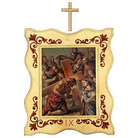 Via crucis 15 stazioni bordo corniciato stampa legno 40x30 cm s9