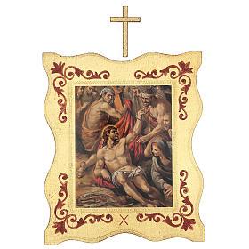 Via crucis 15 stazioni bordo corniciato stampa legno 40x30 cm s10