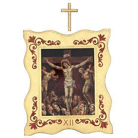 Via crucis 15 stazioni bordo corniciato stampa legno 40x30 cm s12