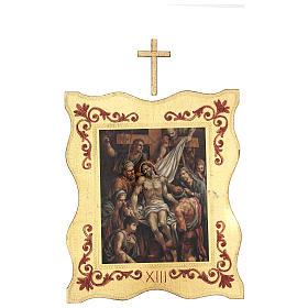 Via crucis 15 stazioni bordo corniciato stampa legno 40x30 cm s13