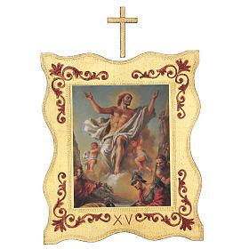 Via crucis 15 stazioni bordo corniciato stampa legno 40x30 cm s15