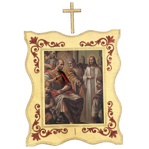 Via crucis 15 stazioni bordo corniciato stampa legno 40x30 cm 1