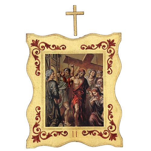 Via crucis 15 stazioni bordo corniciato stampa legno 40x30 cm 2