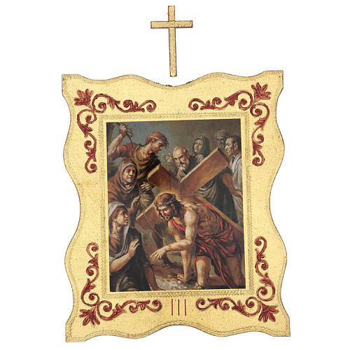 Via crucis 15 stazioni bordo corniciato stampa legno 40x30 cm 3