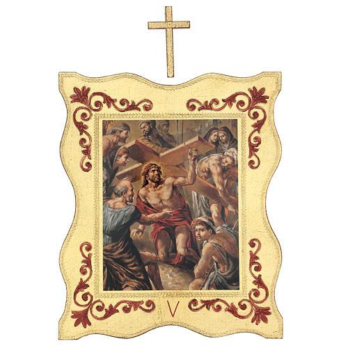Via crucis 15 stazioni bordo corniciato stampa legno 40x30 cm 5