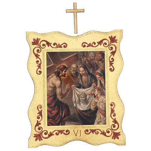 Via crucis 15 stazioni bordo corniciato stampa legno 40x30 cm 6