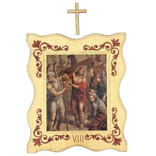 Via crucis 15 stazioni bordo corniciato stampa legno 40x30 cm 8