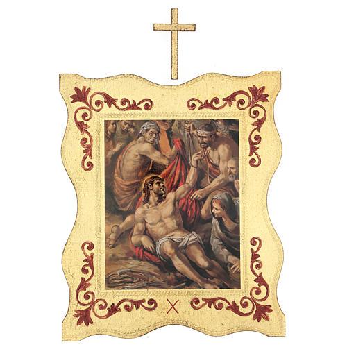 Via crucis 15 stazioni bordo corniciato stampa legno 40x30 cm 10