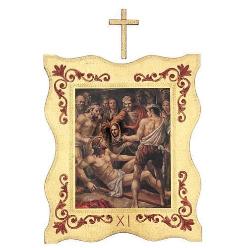 Via crucis 15 stazioni bordo corniciato stampa legno 40x30 cm 11