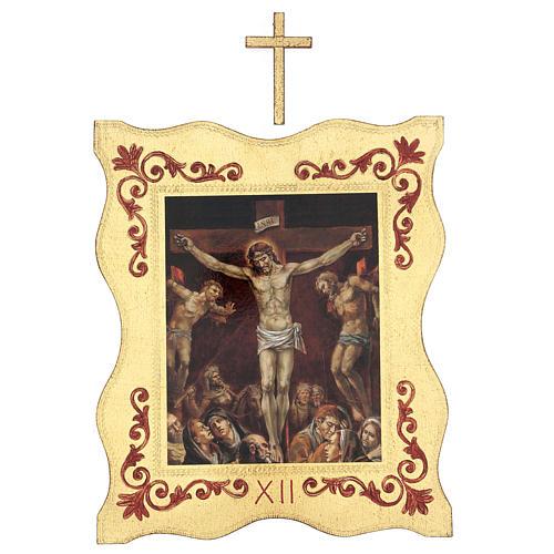 Via crucis 15 stazioni bordo corniciato stampa legno 40x30 cm 12