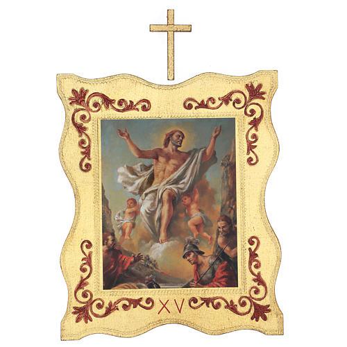 Via crucis 15 stazioni bordo corniciato stampa legno 40x30 cm 15