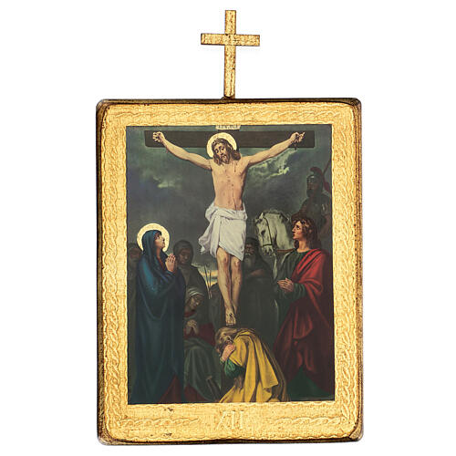 Via Crucis estaciones madera impreso 30x25 cm 12