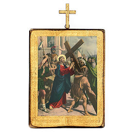 Via crucis 15 stazioni legno stampa 30x25 cm s2