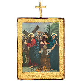 Via crucis 15 stazioni legno stampa 30x25 cm s4