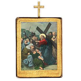 Via crucis 15 stazioni legno stampa 30x25 cm s8