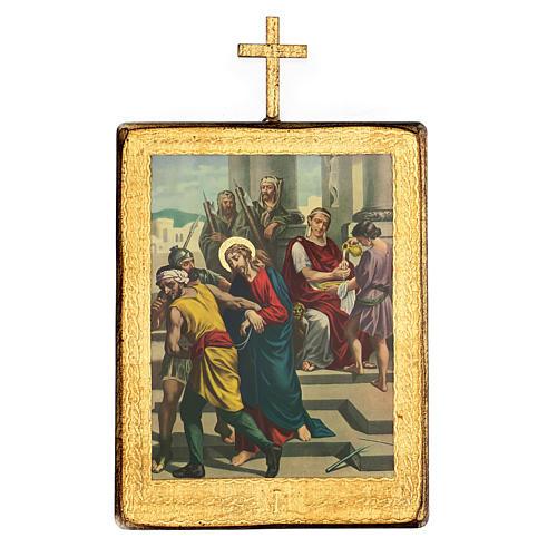 Via crucis 15 stazioni legno stampa 30x25 cm 1
