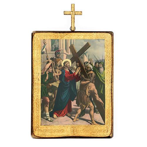 Via crucis 15 stazioni legno stampa 30x25 cm 2