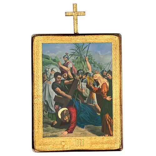 Via crucis 15 stazioni legno stampa 30x25 cm 3