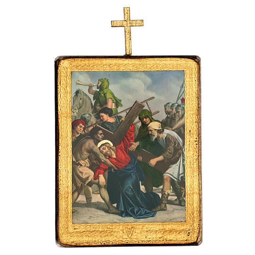 Via crucis 15 stazioni legno stampa 30x25 cm 5