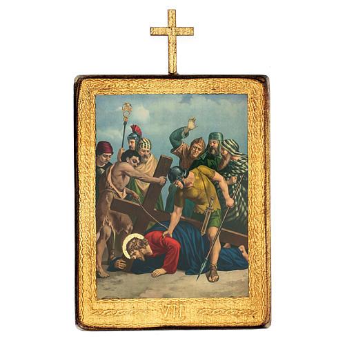 Via crucis 15 stazioni legno stampa 30x25 cm 7