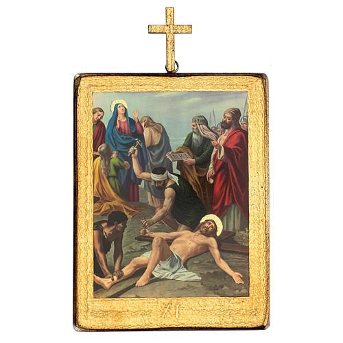 Via crucis 15 stazioni legno stampa 30x25 cm 11