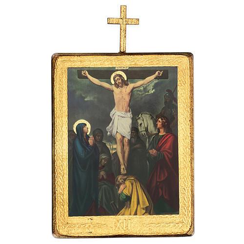 Via crucis 15 stazioni legno stampa 30x25 cm 12