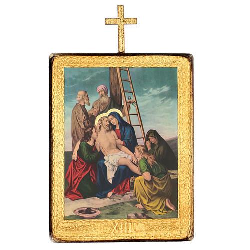 Via crucis 15 stazioni legno stampa 30x25 cm 13