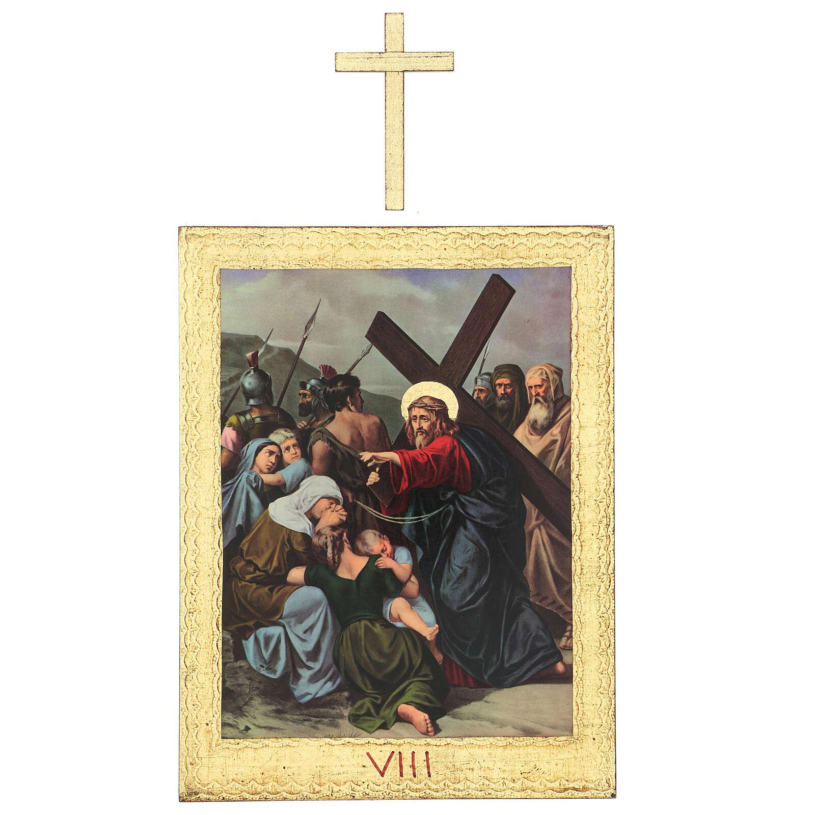 Vía Crucis impreso madera 15 estaciones con cruces 30x25 cm 4