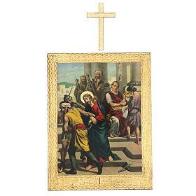 Vía Crucis impreso madera 15 estaciones con cruces 30x25 cm s1