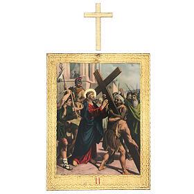 Vía Crucis impreso madera 15 estaciones con cruces 30x25 cm s2