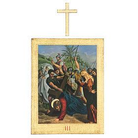 Vía Crucis impreso madera 15 estaciones con cruces 30x25 cm s3