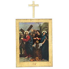 Vía Crucis impreso madera 15 estaciones con cruces 30x25 cm s4